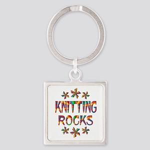 Knitting Rocks Square Keychain